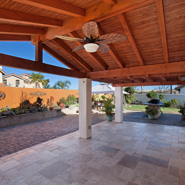 Wood Patio Cover With Large Fan