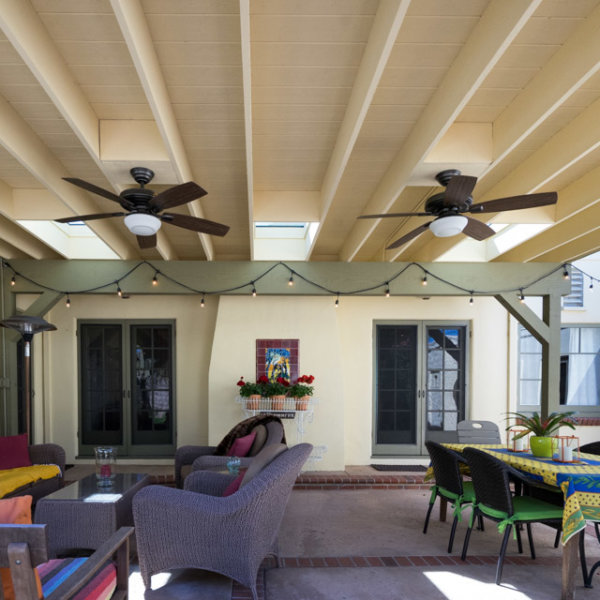Wood Patio Cover Painted White With Ceiling Fans