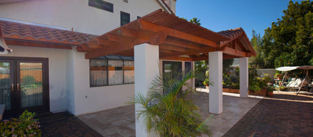 Covered Lattice Patio With Extended Roof Exterior Home